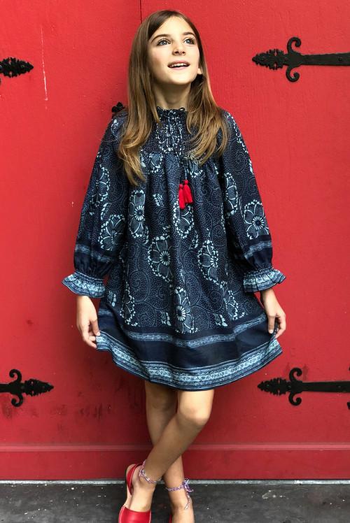 Sophie Catalou Girls Toddler & Kids Indigo Karyn Dress 2-7/18y