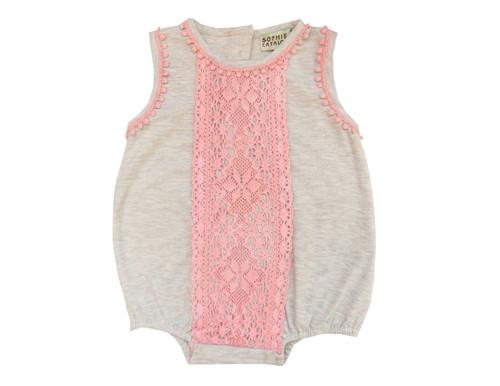 Sample Sale Ecru and Blush Knit Lace Romper