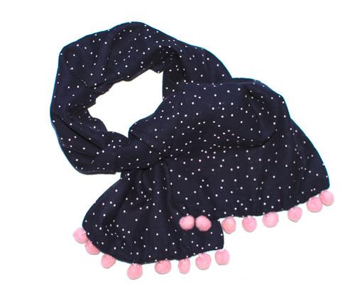 Sample Sale Midnight & Pink Polka dot scarf