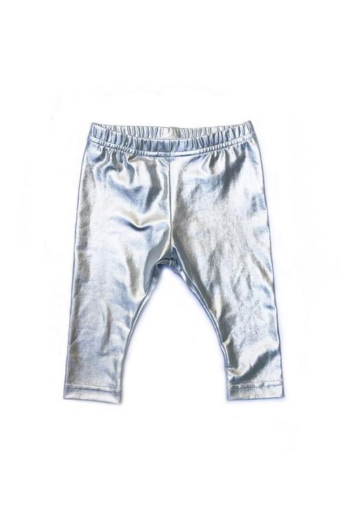 Sophie Catalou Girls Toddler & Kids Metallic Silver Leggings 2-10y