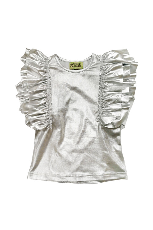 Sophie Catalou Girls Toddler & Kids Metallic Silver Top 2-10y
