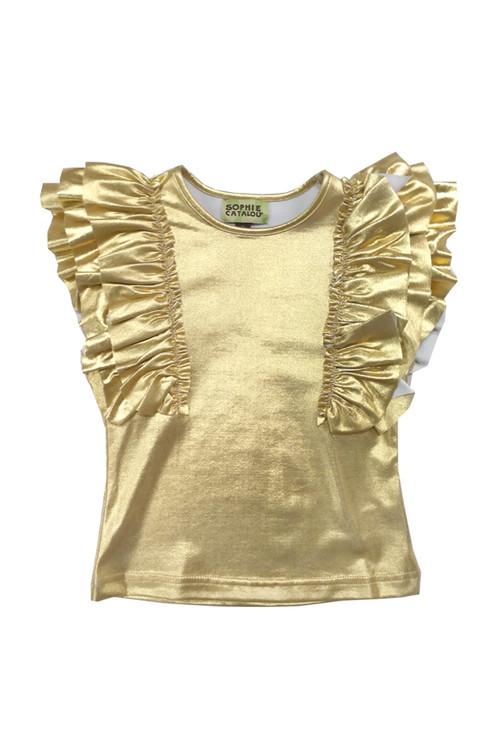 Sophie Catalou Girls Toddler & Kids Metallic Gold Top 2-10y