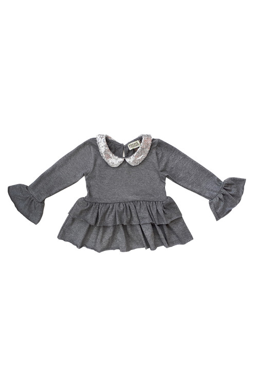 Sophie Catalou Girls Toddler & Kids Dark Melange Sequin Mia Top 2-10y