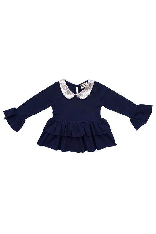 Sophie Catalou Girls Toddler & Kids Navy Sequin Mia Top 2-10y