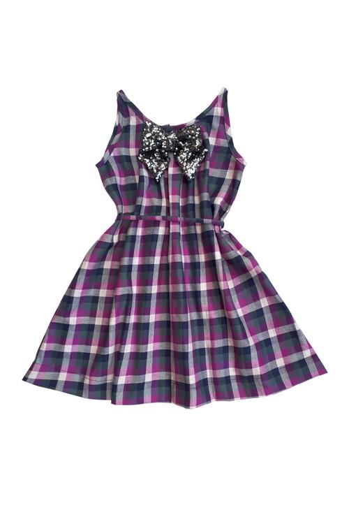 Sophie Catalou Girls Toddler & Kids Purple Plaid A-line Dress 3-12y