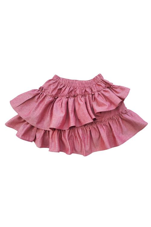 Sophie Catalou Girls Toddler & Kids Red Chambray Ruffle Short Skirt 3-10y