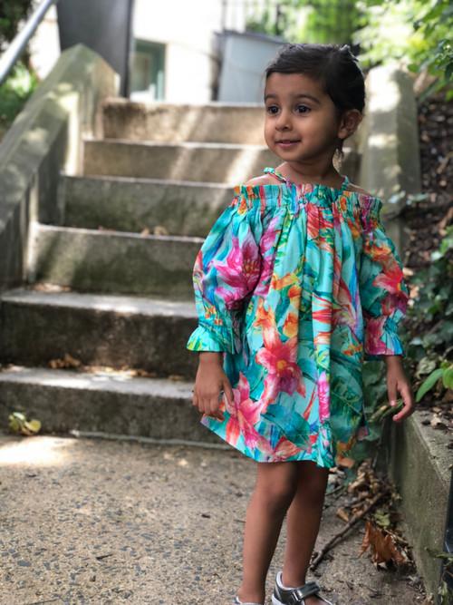 Sophie Catalou Girls Toddler & Kids Maldives Hibiscus Off-Shoulder Dress  4-7/8y