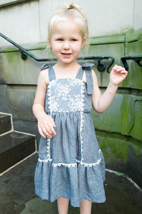 Sophie Catalou Girls Toddler & Kids Blue Lace Tara Dress  2-10y