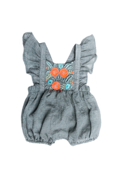 aef98b703b06 Sophie Catalou Infant Mint Embroidered Mia Romper