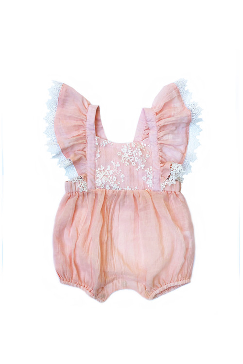 296057ae3582 Sophie Catalou Infant Peach Lace Mia Romper