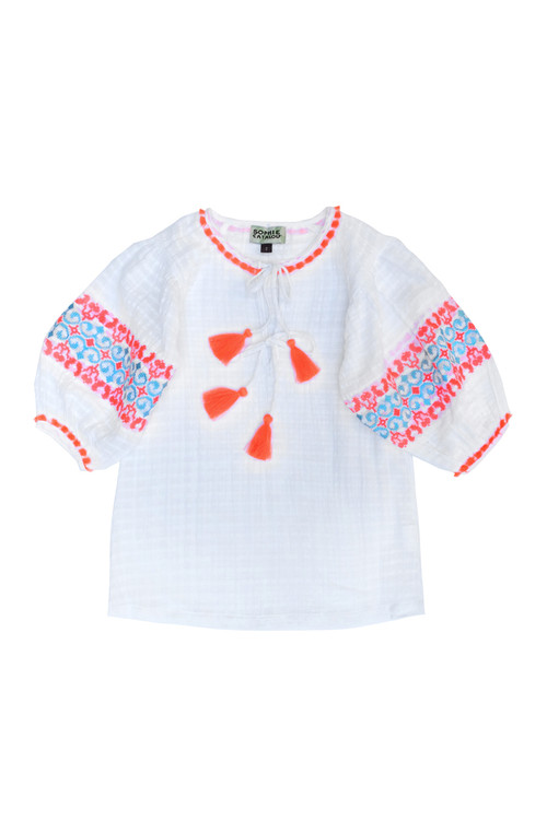 Sophie Catalou Girls Toddler & Kids White Embroidered Taylor Tunic 2-7/8y