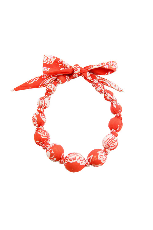 Sophie Catalou Girls Red  Print Wooden Bead Necklace