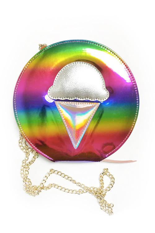 Sophie Catalou Girls Iridescent Ice Cream Rainbow Bag
