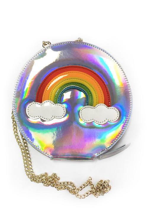 Sophie Catalou Girls Iridescent Silver Rainbow Bag