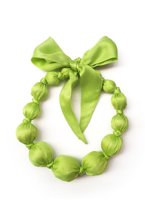 Sophie Catalou Girls Silk Limepop Wooden Bead Necklace