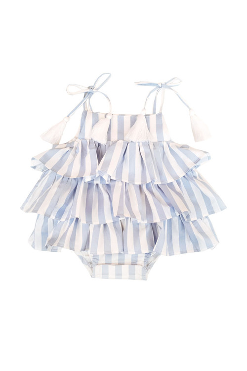 b6c500193607 Sophie Catalou Girls Infant Blue and White Stripe Ruffle Romper 3m-18m