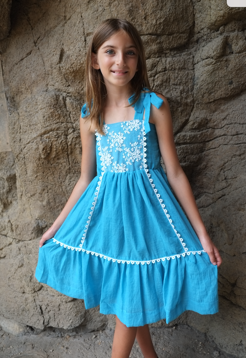 Sophie Catalou Girls Toddler & Kids Turquoise Lace Tara Dress  2-10y