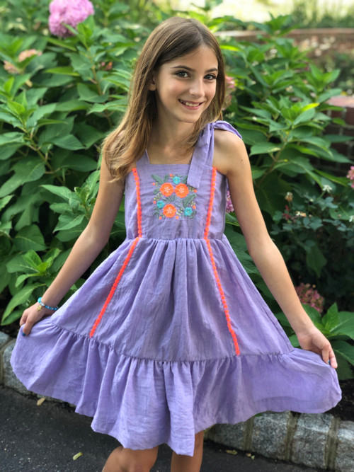 Sophie Catalou Girls Toddler & Kids Purple Lace Tara Dress  2-10y