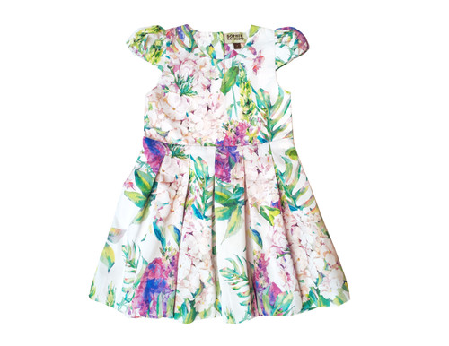 Sophie Catalou Girls Toddler & Kids White & Purple San Remo Pleated A-Line Dress 18m-9/10y
