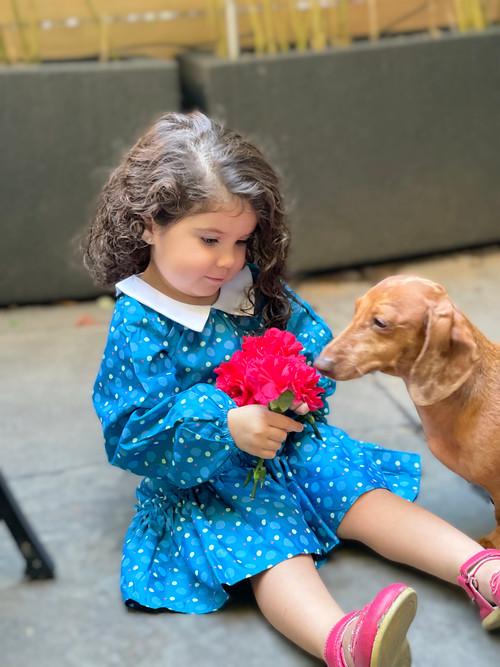 Sophie Catalou Girls Toddler & Kids Teal Vinchensa Dress 2-8y