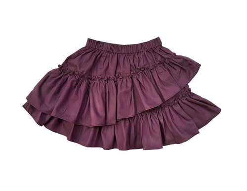 Sophie Catalou Girls Toddler & Kids Purple Chambray Ruffle Short Skirt 2-10y