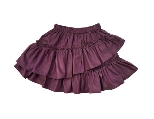 Sophie Catalou Girls Toddler & Kids Purple Chambray Ruffle Short Skirt 2-10y