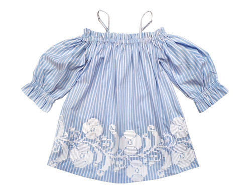 Sophie Catalou Girls Toddler & Kids Light Blue & White Lilian Dress