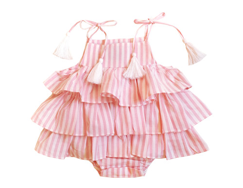 Sophie Catalou Infant Pink & White Pinstripe Ruffle Romper 3-9m