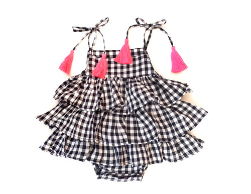 Sophie Catalou Infant Black & White Plaid Ruffle Romper 3-18m