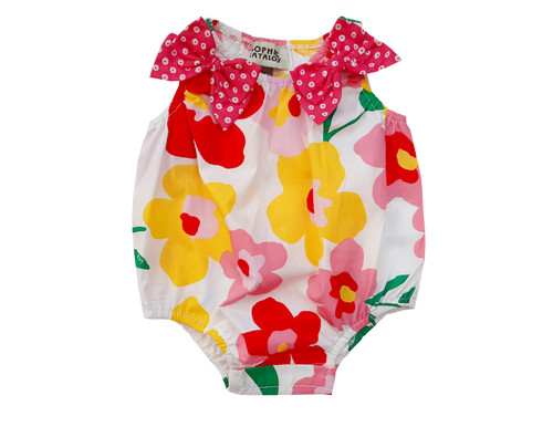Sophie Catalou Infant Matisse Bow Romper 3-12m
