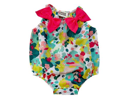 Sophie Catalou Chicago Infant Bow Romper 3-12m