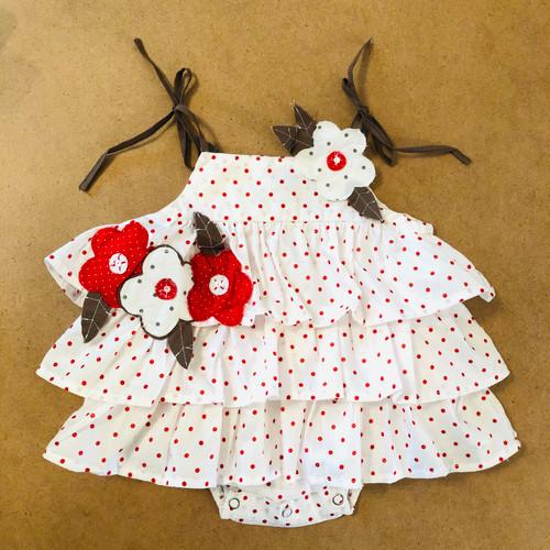 Sophie Catalou White dot Flower Baby Ruffle Romper 3-6m