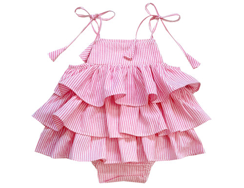Sophie Catalou Infant Pink & White Stripe Ruffle Romper 3-18m