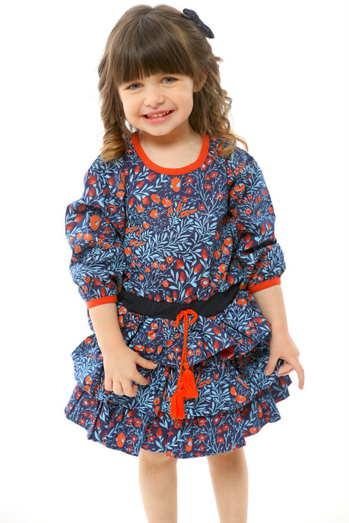 Sophie Catalou Girls Infant Toddler & Kids Noche Blue Ruffle Dress 2-8y