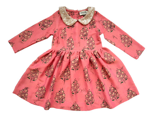 SOPHIE CATALOU PINK PAISLEY GOLD SEQUIN FINA DRESS
