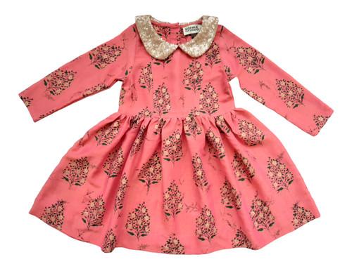 SOPHIE CATALOU PINK PAISLEY GOLD SEQUIN FINA DRESS
