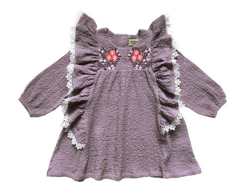 LUCKY SIZE 2 Crepe Embroidery Dress 63-L Lavender