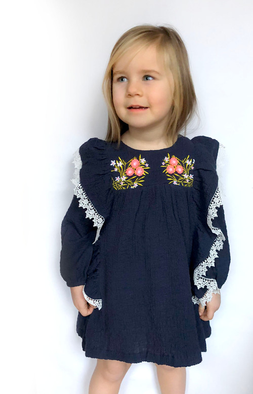 LUCKY SIZE 2 Crepe Embroidery Dress 63-N Navy