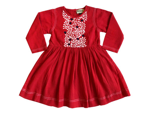 LUCKY SIZE 2 crinkle Embroidered dress Red