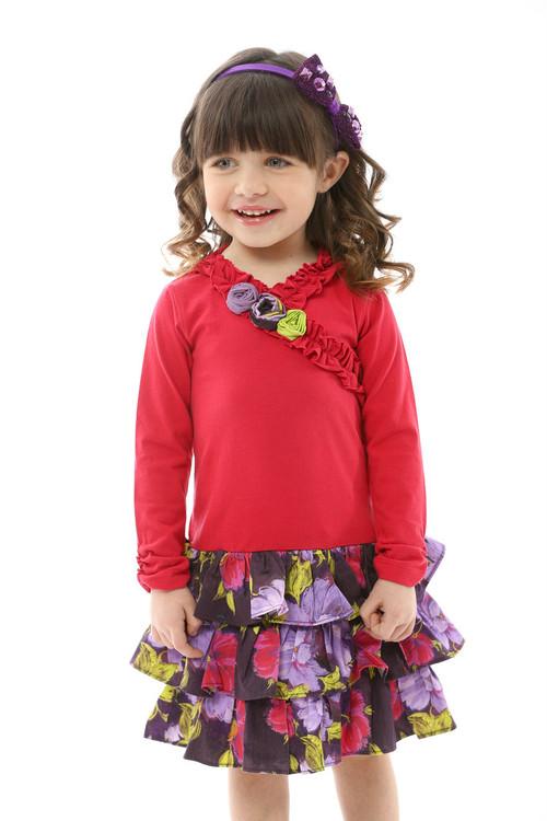 Sophie Catalou Girls Infant Toddler & Kids Raspberry / Violet Drop-Waist Dress