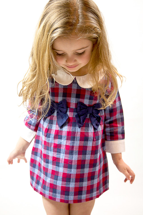 Sophie Catalou Girls Infant Toddler & Kids Navy/Red High Waist Plaid Dress 5-10y