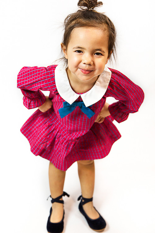 Sophie Catalou Girls Infant Toddler & Kids Red/Teal Ruffle Dress With Collar 2-8y