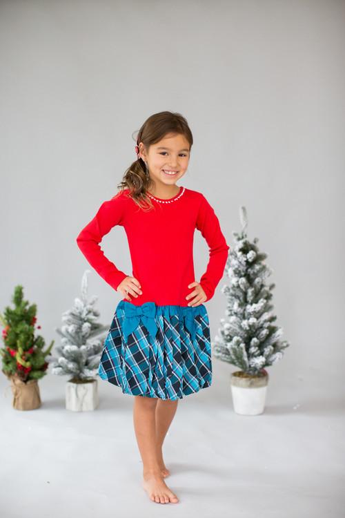 Sophie Catalou Girls Toddler & Kids Carnation/Teal Drop-Waist Dress 2-8y