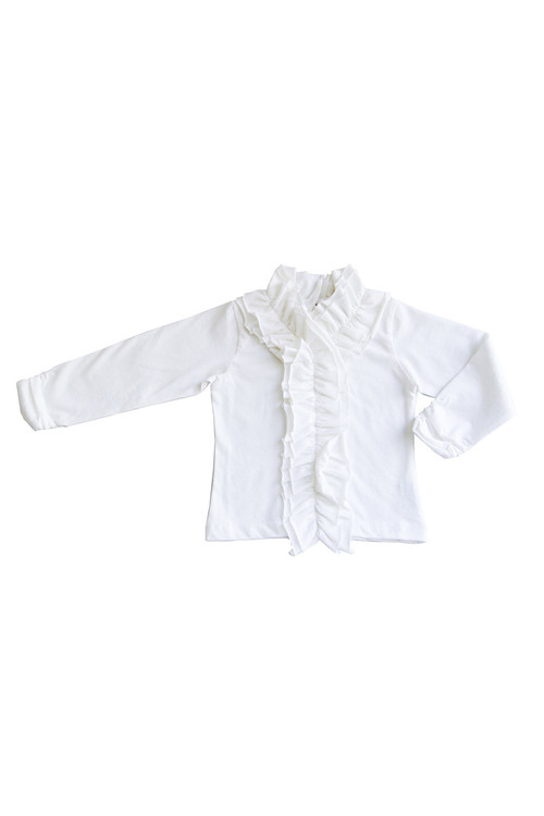 Sophie Catalou Girls Toddler & Kids White Ruffle Knit Top 5-10y