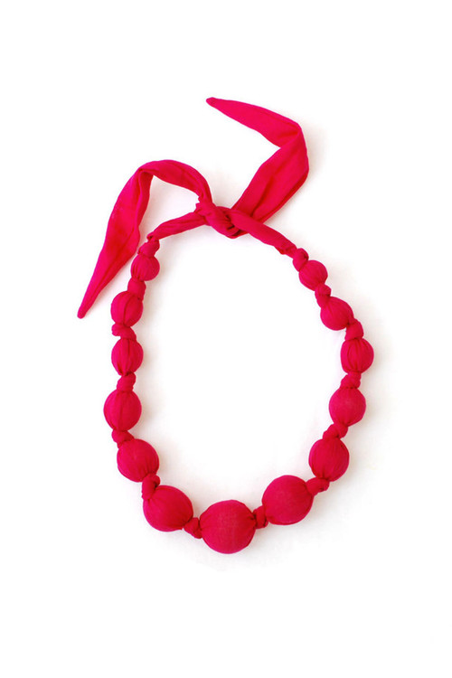 Sophie Catalou Girls Raspberry Wooden Bead Necklace