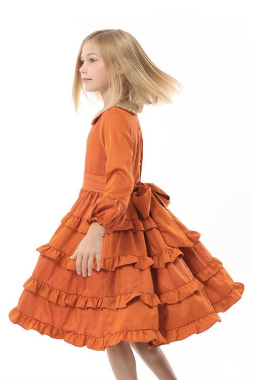Sophie Catalou Girls Infant Toddler & Kids Orange Tatiana Dress 2-8y