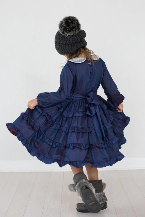 Sophie Catalou Girls Infant Toddler & Kids Navy Tatiana Dress 4-5