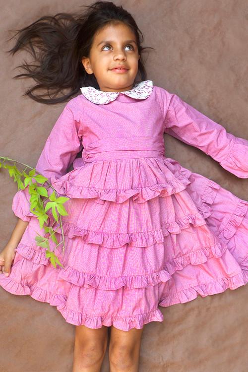 Sophie Catalou Girls Toddler & Kids Red Mini Houndstooth Tatiana Dress 2-5y