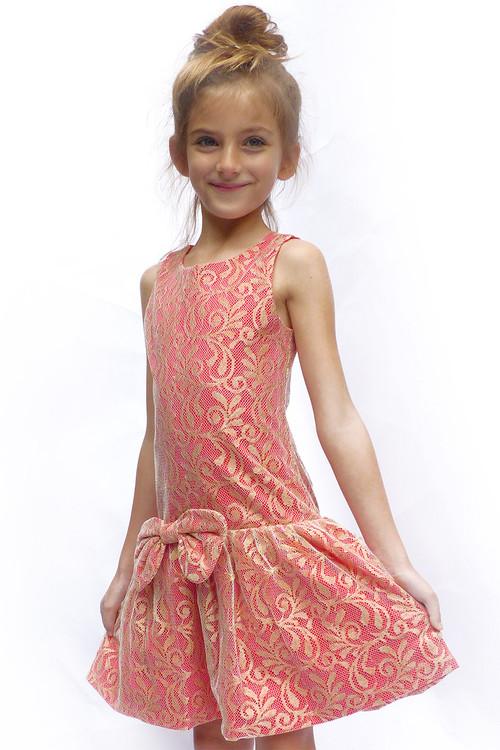 Sophie Catalou Girls Toddler & Kids Crimson & Gold Lace Drop-Waist Dress 2-4