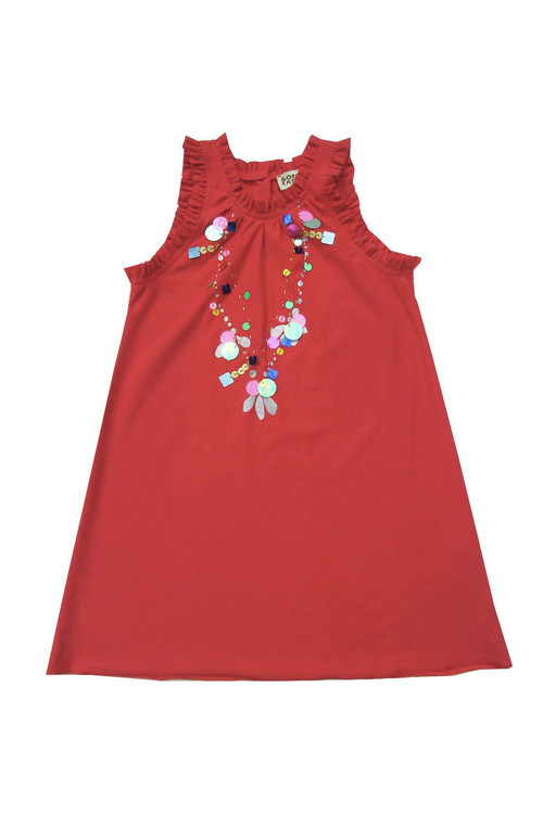 Sophie Catalou Girls Toddler & Kids Carnation Sequin Necklace Dress 5y